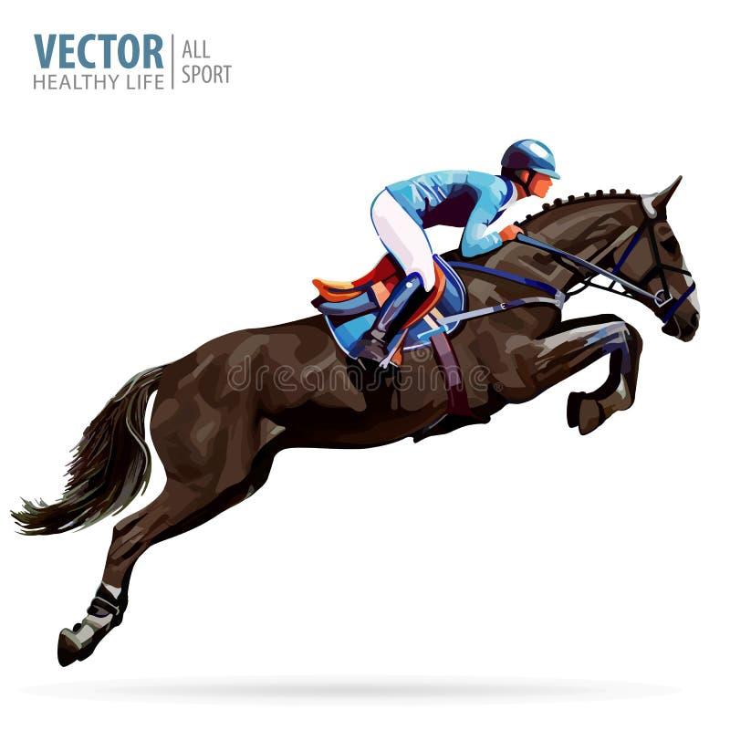 Jockey op paard kampioen Ruiter op een paard Ruiter sport Jockey het berijden het springen paard affiche De achtergrond van de sp stock illustratie