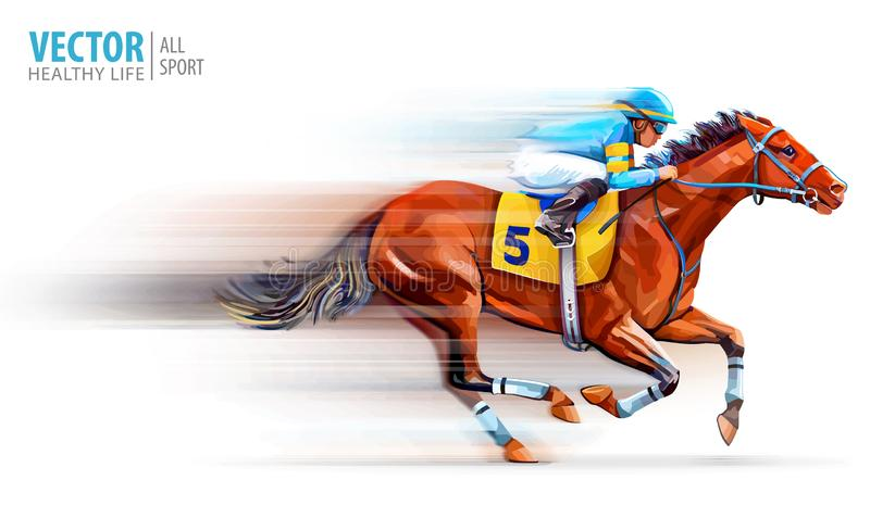 Jockey on racing horse. Champion. Hippodrome. Racetrack. Horse riding. Vector illustration. Derby. Speed. Blurred. Movement Isolated on white background stock illustration
