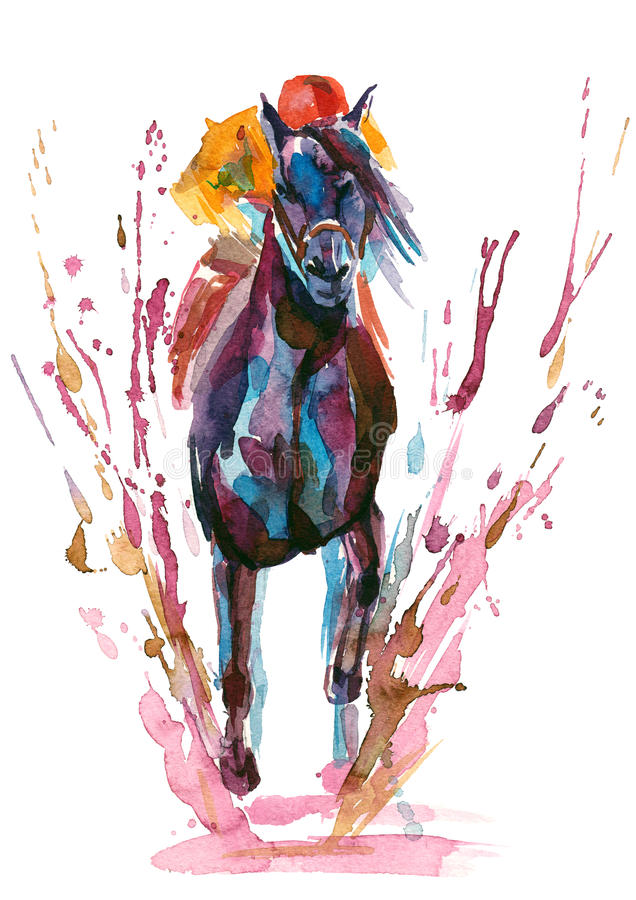 Jockey. Rides in horse racing in any weather stock illustration