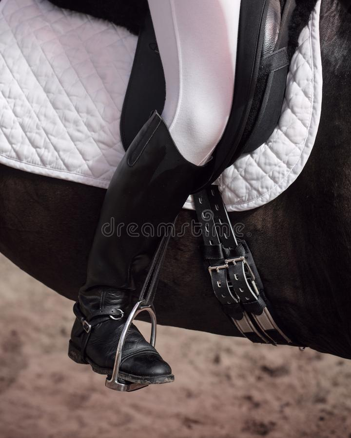 Jockey in saddle on horseback. The jockey sits in the saddle on a horse shooting close-up. Leg in treko, crooks and boots is in the stirrup. A pedigree horse for royalty free stock photos