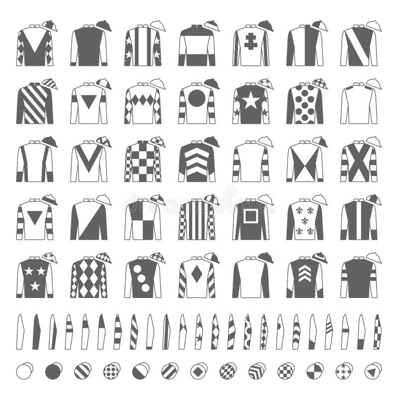Jockey uniform. Traditional design. Jackets, silks, sleeves and hats. Horse riding. Horse racing. Icons set. Isolated on. White Vector illustration royalty free illustration