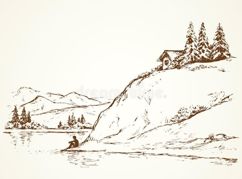 Jodły na wzgórzu nad rzeka rysuje tła trawy kwiecistego wektora ilustracja wektor