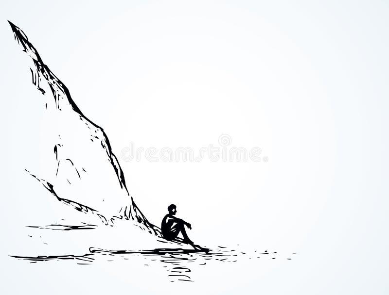 Jodły na wzgórzu nad rzeka rysuje tła trawy kwiecistego wektora royalty ilustracja
