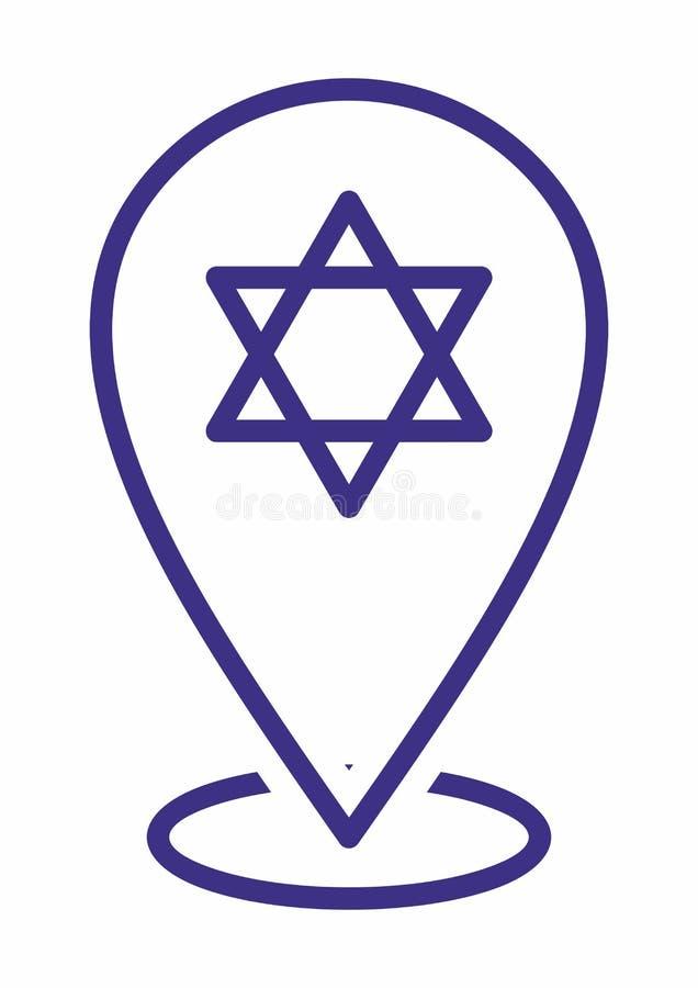 Jodenster, Schild van David of Jodenster plaatspictogram voor Multidoel De Tellers van de kaart stock illustratie
