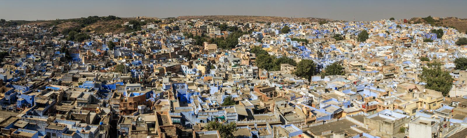 Panoramic view on the the blue city from the Mehrangarh Mehran Fort, Jodhpur, Rajasthan, India stock image