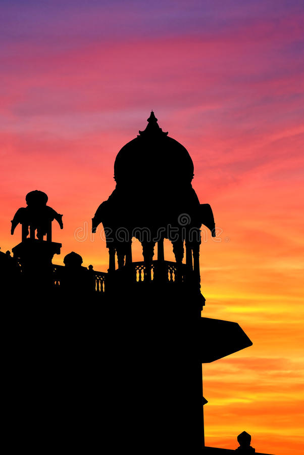 Jodhpur-Denkmalsonnenuntergang stockfotos