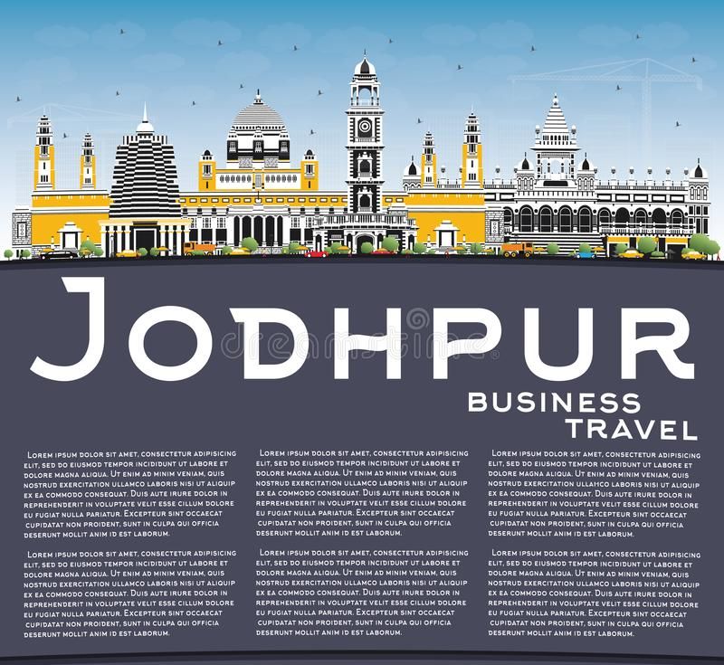 Jodhpur India City Skyline with Color Buildings, Blue Sky and Copy Space. Vector Illustration. Business Travel and Concept with Historic Architecture. Jodhpur vector illustration