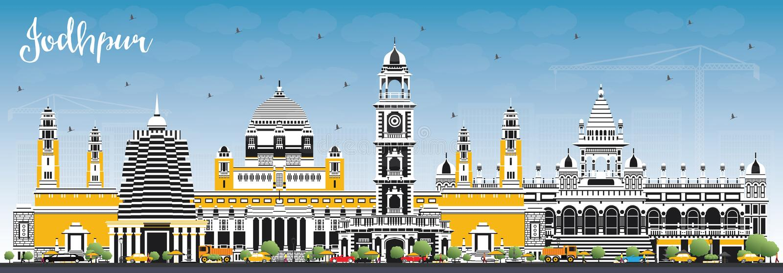 Jodhpur India City Skyline with Color Buildings and Blue Sky. Vector Illustration. Business Travel and Concept with Historic Architecture. Jodhpur Cityscape royalty free illustration