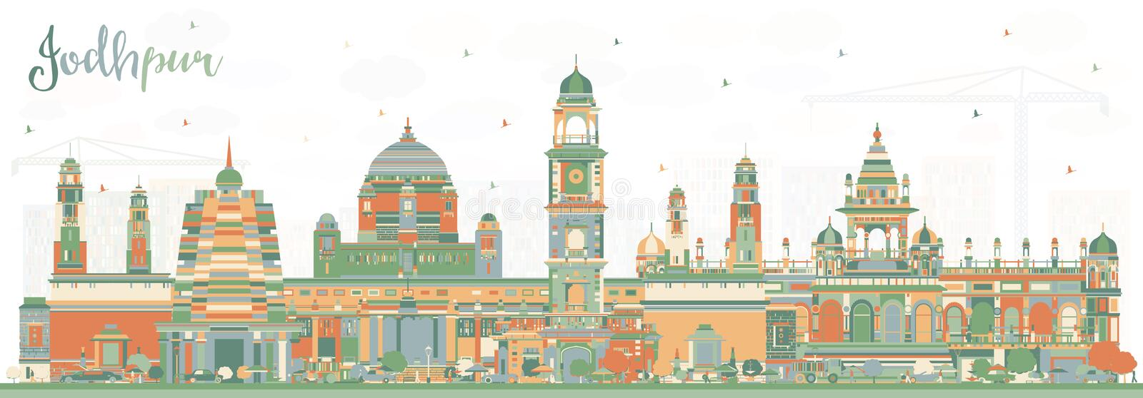 Jodhpur India City Skyline with Color Buildings. Vector Illustration. Business Travel and Concept with Historic Architecture. Jodhpur Cityscape with Landmarks royalty free illustration