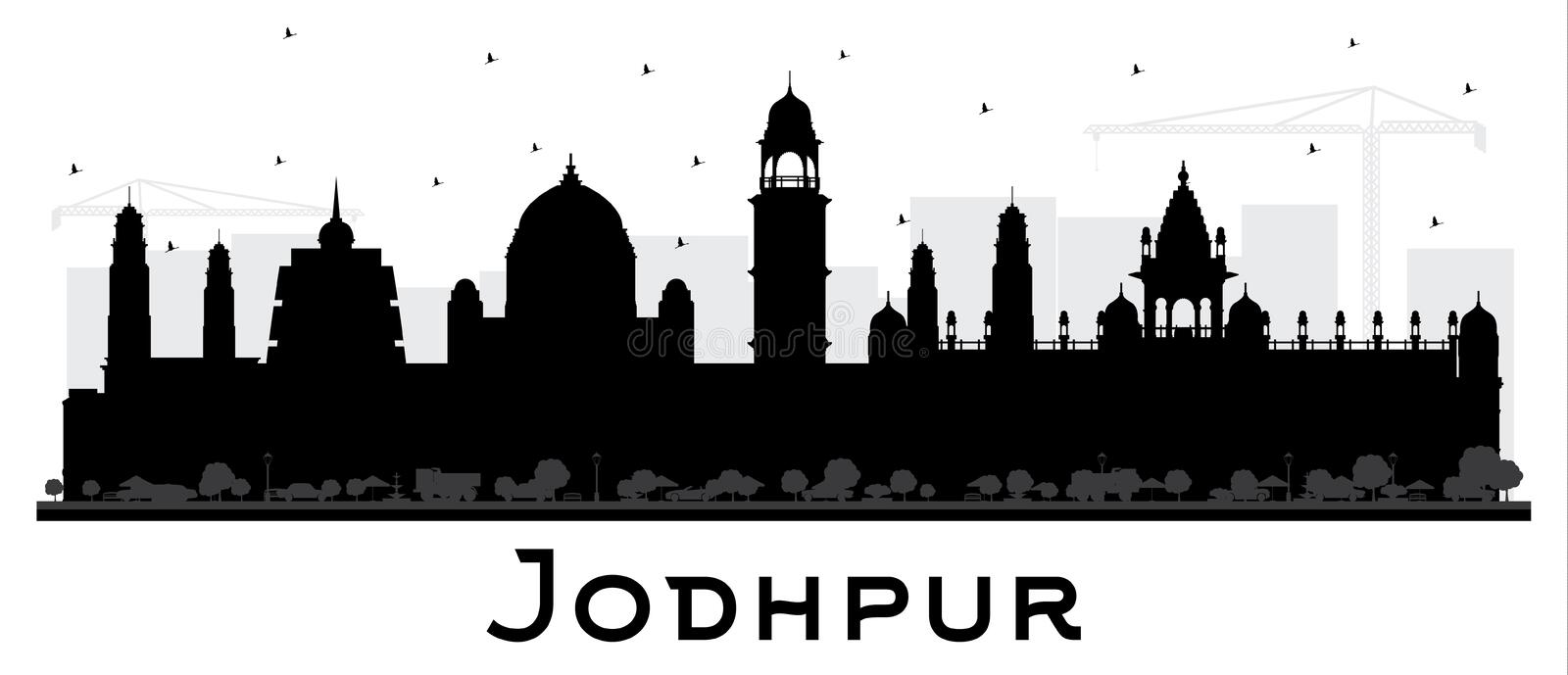 Jodhpur India City Skyline Silhouette with Black Buildings Isolated on White. Vector Illustration. Business Travel and Concept with Historic Architecture stock illustration