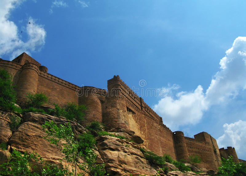 Jodhpur, India: the great Mehrangarh Fort. In Jodhpur, the blue city, in the heart of Rajasthan royalty free stock photos