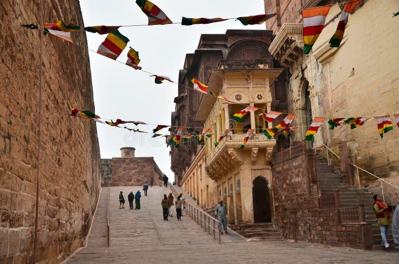 Jodhpur India, Styczeń, - 1, 2015: Turystyczny wizyty Mehrangarh fort obraz stock
