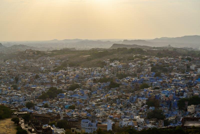 Jodhpur-Vogelperspektive, wie von Mehrangarh-Fort gesehen lizenzfreie stockbilder
