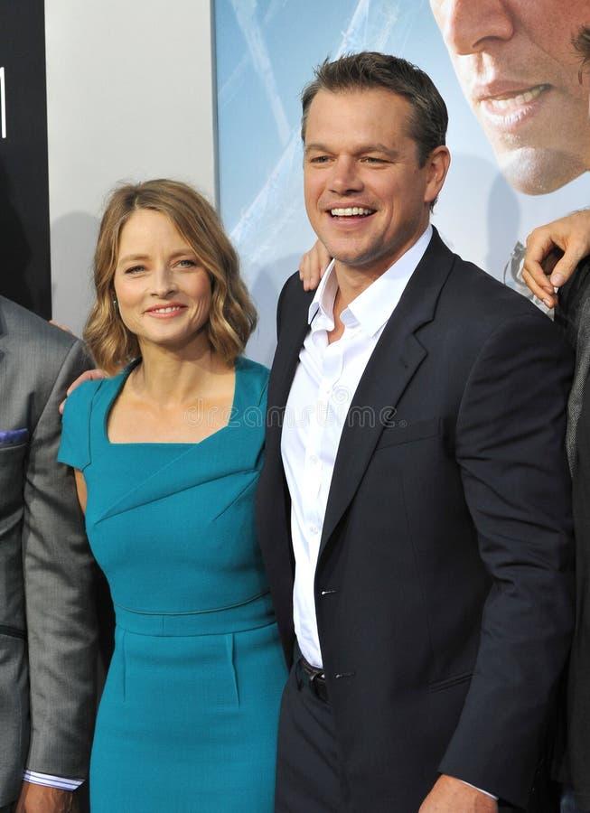 Jodie Przybrany & Matt Damon obrazy stock