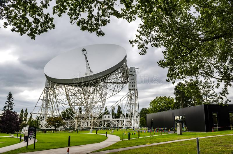 Jodrell Bank radio telescope Cheshire England. 16 September 2015. Jodrell Bank radio telescope began probing deep space in the summer of 1957. Today it is still stock images