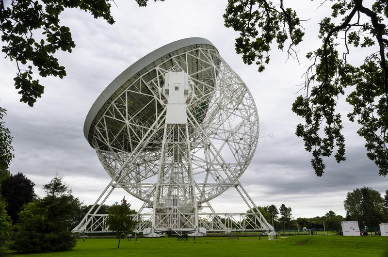 Jodrell Bank radio telescope Cheshire England. 16 September 2015. Jodrell Bank radio telescope began probing deep space in the summer of 1957. Today it is still stock photos