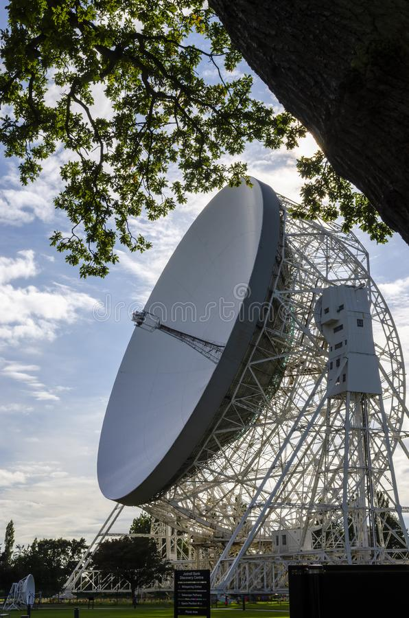 Jodrell Bank radio telescope Cheshire England. 16 September 2015. Jodrell Bank radio telescope began probing deep space in the summer of 1957. Today it is still royalty free stock images