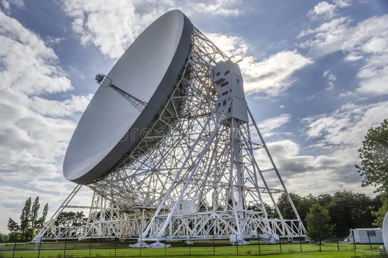 Jodrell Bank radio telescope Cheshire England. 16 September 2015. Jodrell Bank radio telescope began probing deep space in the summer of 1957. Today it is still royalty free stock photos