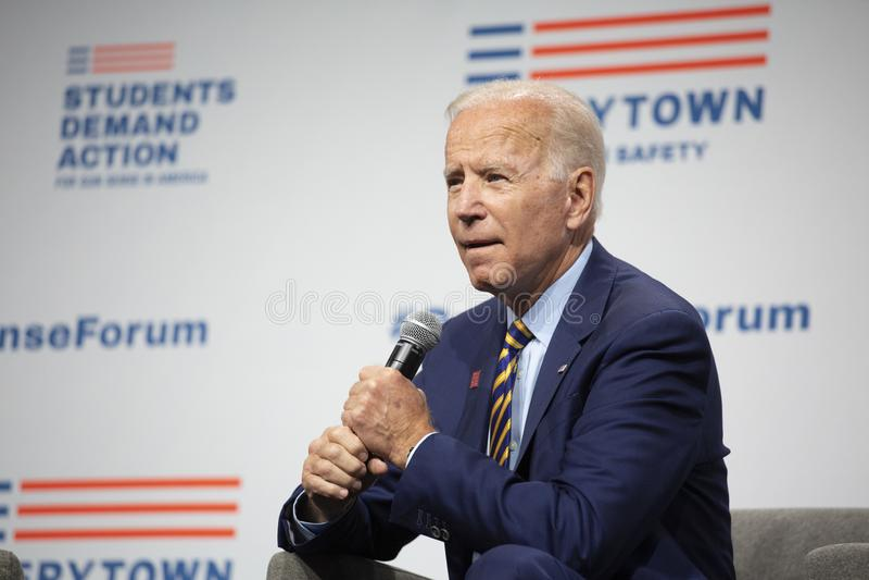 Joe Biden at the Gun Sense Forum on August 10, 2019, Des Moines, Iowa, USA royalty free stock images