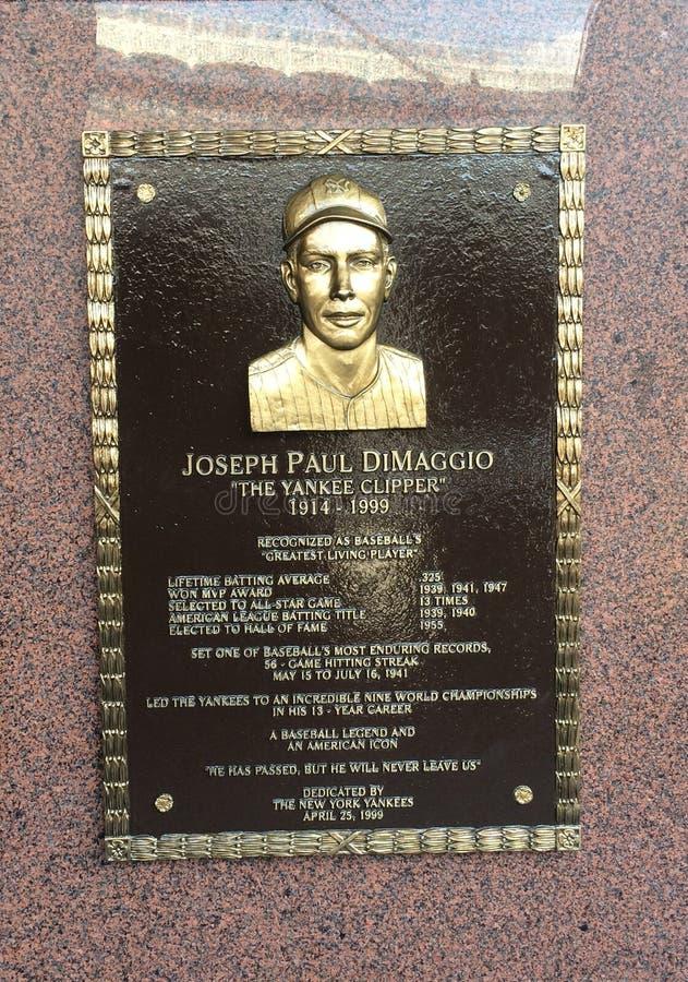 Joe di Maggio memorial in the Yankee Stadium, New York. Yankee Stadium Joseph Paul di Maggio memorial - Bronx - New York royalty free stock photography