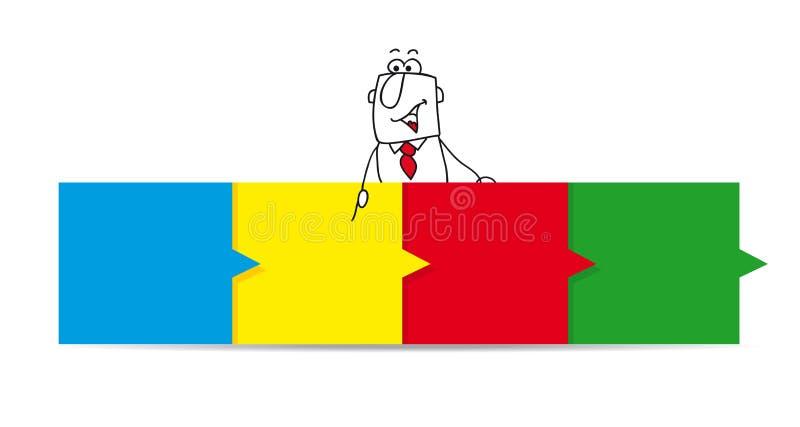 Joe en het horizontale gekleurde dashboard vector illustratie