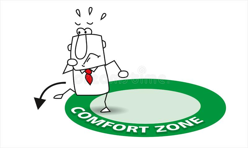 Go out his comfort zone stock images