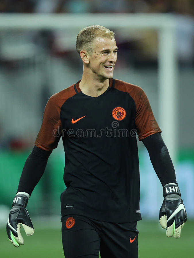 Joe Hart. Charles Joseph John Joe Hart goalkeeper of Manchester City, pictured before the Uefa Champions League match against Steaua Bucharest royalty free stock photos
