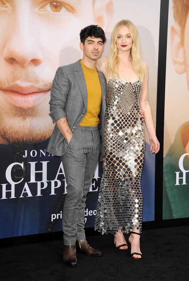 Joe Jonas and Sophie Turner. At the premiere of Amazon Prime Video`s `Chasing Happiness` held at the Regency Bruin Theatre in Westwood, USA on June 3, 2019 stock photo