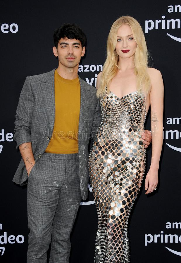 Joe Jonas and Sophie Turner. At the premiere of Amazon Prime Video`s `Chasing Happiness` held at the Regency Bruin Theatre in Westwood, USA on June 3, 2019 royalty free stock photography
