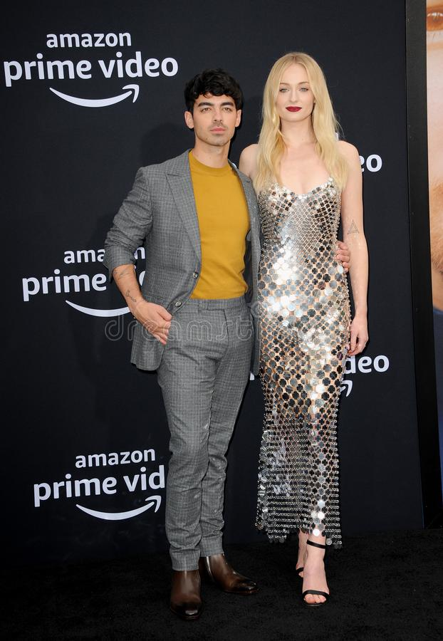 Joe Jonas and Sophie Turner. At the premiere of Amazon Prime Video`s `Chasing Happiness` held at the Regency Bruin Theatre in Westwood, USA on June 3, 2019 stock photography