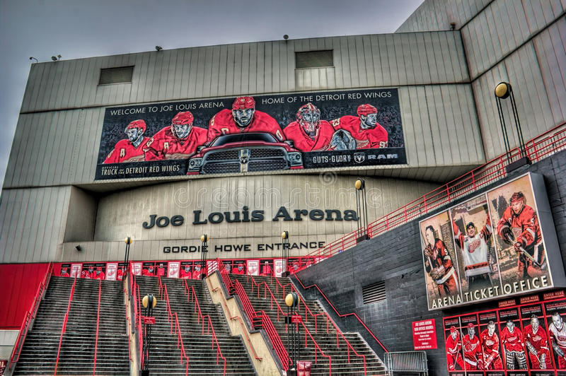 Joe Louis Arena. In Detroit Michigan is home the the Detroit Redwings stock photography
