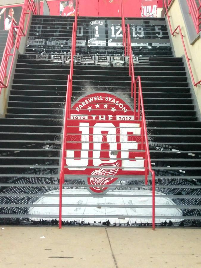 Goodbye to hockeytown. Joe Louis arena  stairs of the past  farewell season Detroit red wings royalty free stock image