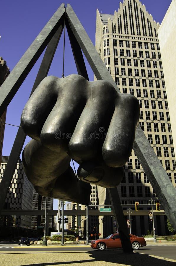 Joe Louis-famos Faust in Detroit lizenzfreie stockfotos