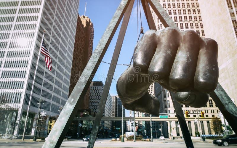 Joe Louis Fist Monument Detroit stock photo
