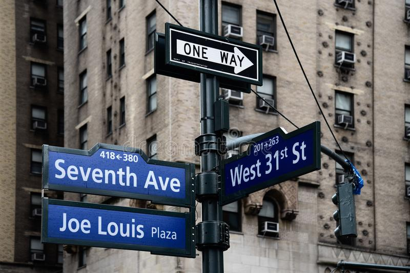 Joe Louis Plaza road sign in Midtown of New York. City stock photo