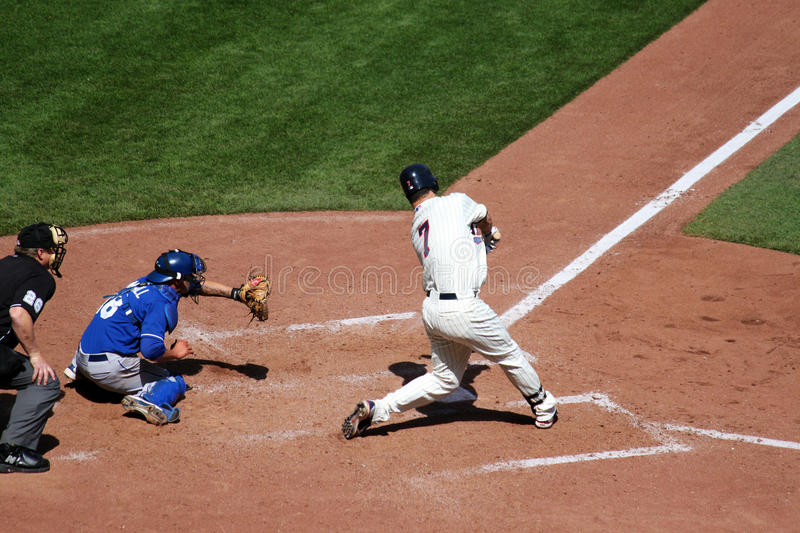 Joe Mauer knocks one out of the park. royalty free stock photography
