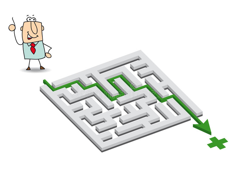Joe and the maze. Joe has a solution. he wants to get through the maze stock illustration