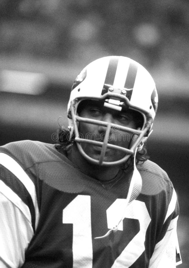 Joe Namath New York Jets. In game action at a NFL football game stock image