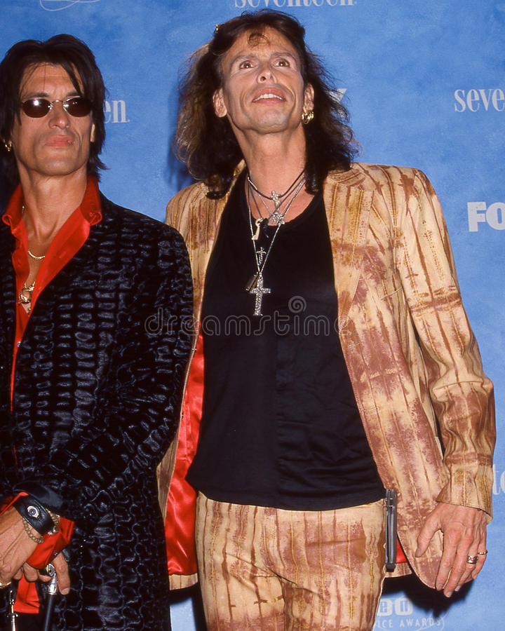 Joe Perry and Steven Tyler. Aerosmith members Joe Perry (l) and Steven Tyler (r) (Image taken from color slide royalty free stock images