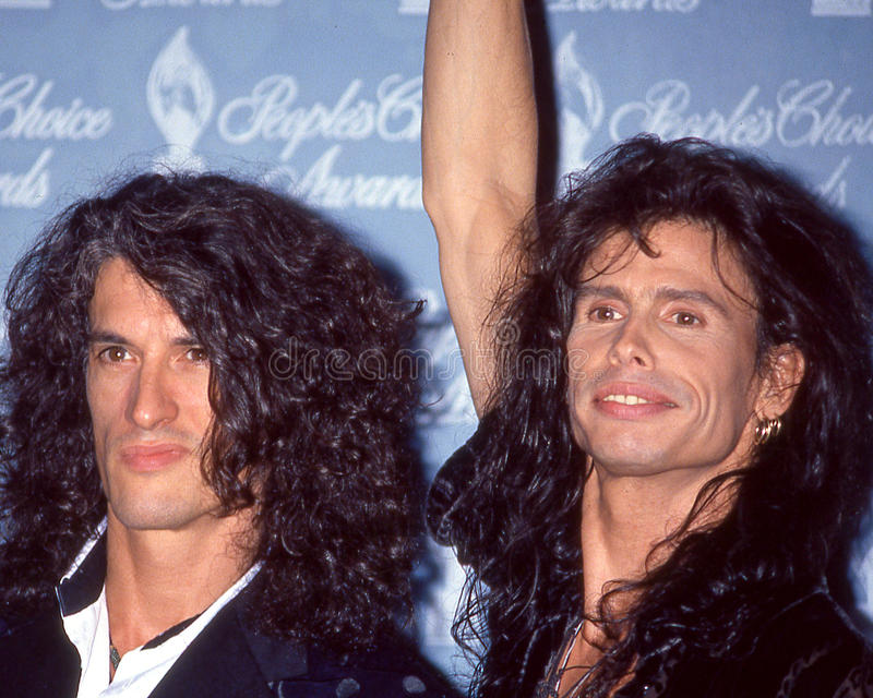 Joe Perry and Steven Tyler. Aerosmith members Joe Perry (l) and Steven Tyler (r) at People's Choice Award. (Image taken from color slide stock photos
