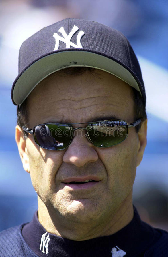 Joe Torre Manager of the New York Yankees. Joe Torre in a pre game meeting with press.Yankee Stadium, Bronx New York stock image