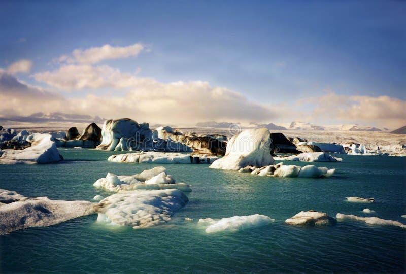 Joekulsarlon Glacjalna laguna na południowym wybrzeżu Iceland fotografia stock