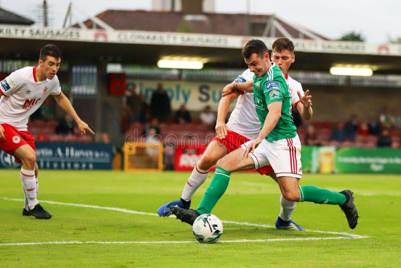 Joel Coustrain bij Liga van Eerste de Afdelingsgelijke van Ierland tussen Cork City FC versus St Patricks Atletische FC stock foto