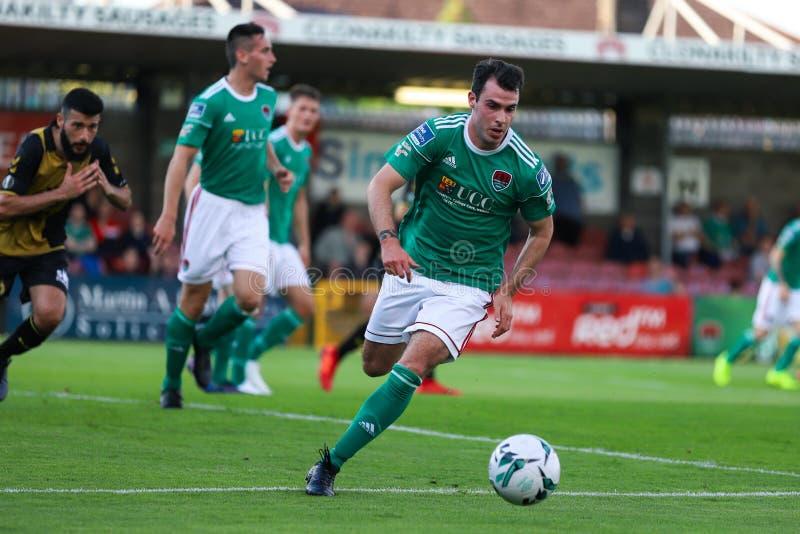 Joel Coustrain in Cork City FC versus het Europa Leaguegelijke van FC Progres Niederkorn stock afbeelding