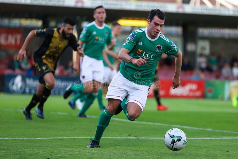 Joel Coustrain in Cork City FC versus het Europa Leaguegelijke van FC Progres Niederkorn stock fotografie