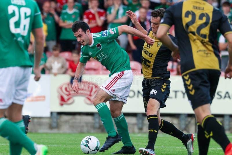 Joel Coustrain in Cork City FC versus het Europa Leaguegelijke van FC Progres Niederkorn royalty-vrije stock foto