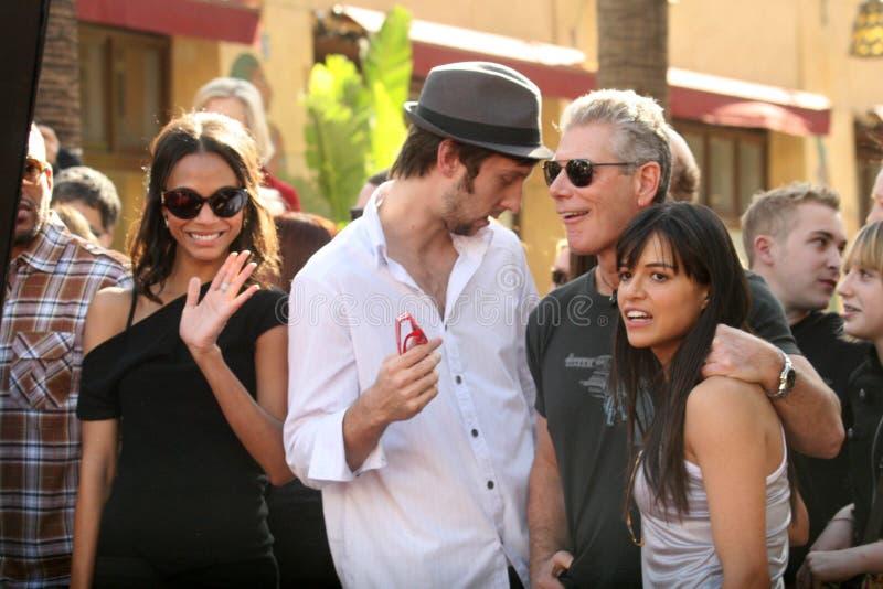 Joel David Moore, Michelle Rodriguez, Stephen Lang, Zoe Saldana, James Cameron royalty-vrije stock foto