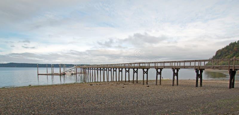Joemma Beach State Park Pier and Boat Dock on the Puget Sound near Tacoma Washington. USA royalty free stock photography
