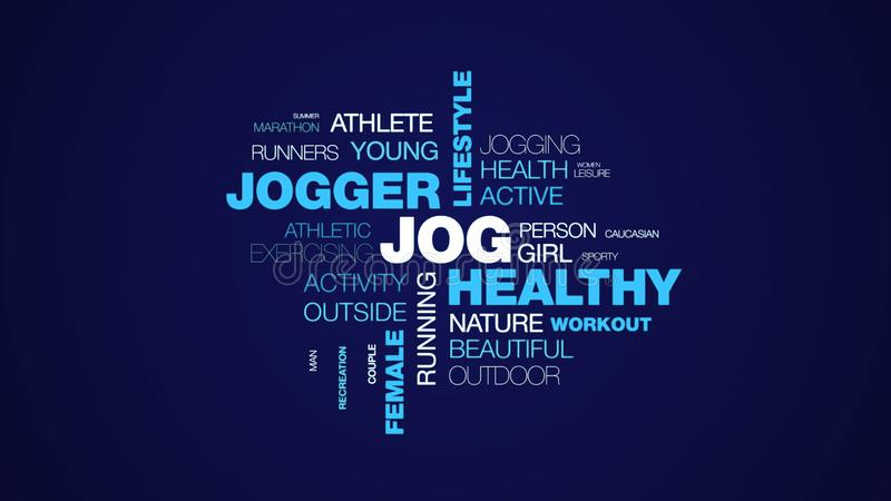Jog healthy jogger lifestyle fit fitness sport exercise runner female people animated word cloud background in uhd 4k. 3840 2160 stock illustration