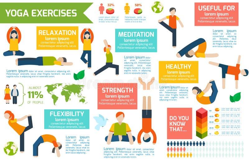 Joga infographics set royalty ilustracja